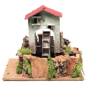 Water mill for nativities measuring 23x25x25cm s1