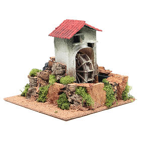 Water mill for nativities measuring 23x25x25cm s3