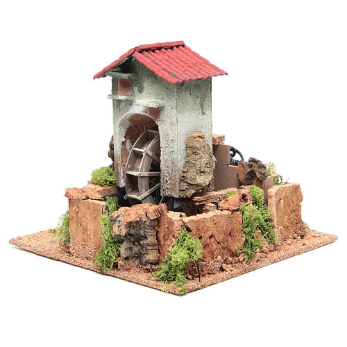 Water mill for nativities measuring 23x25x25cm 2