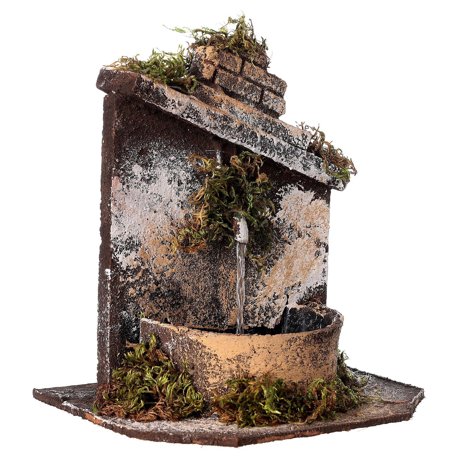Neapolitan Nativity accessory: fountain in wood and cork 16x14.5x14cm 4