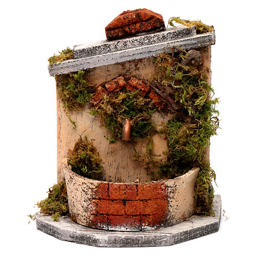 Neapolitan Nativity accessory: fountain in wood and cork 16x14.5x14cm 5