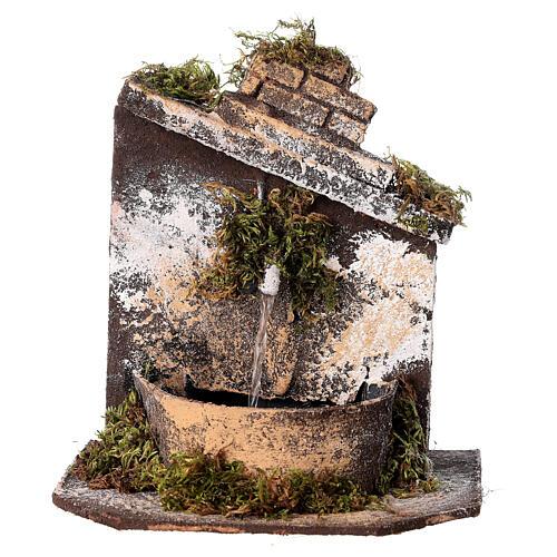 Neapolitan Nativity accessory: fountain in wood and cork 16x14.5x14cm 1