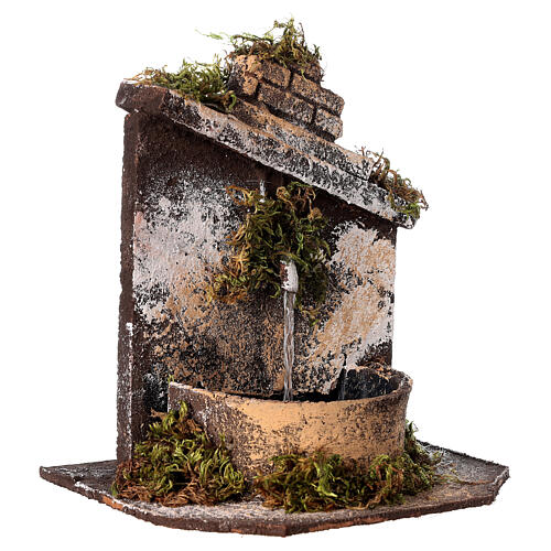 Neapolitan Nativity accessory: fountain in wood and cork 16x14.5x14cm 3