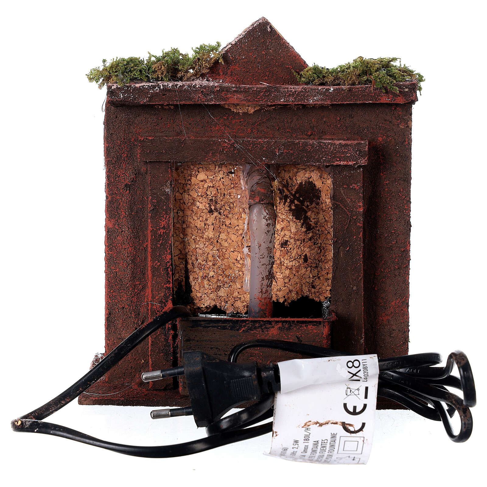 Electric fountain with real wood and cork for Neapolitan Nativity 16x14.5x14cm 4