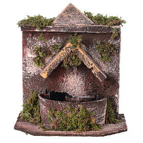 Electric fountain with real wood and cork for Neapolitan Nativity 16x14.5x14cm s1