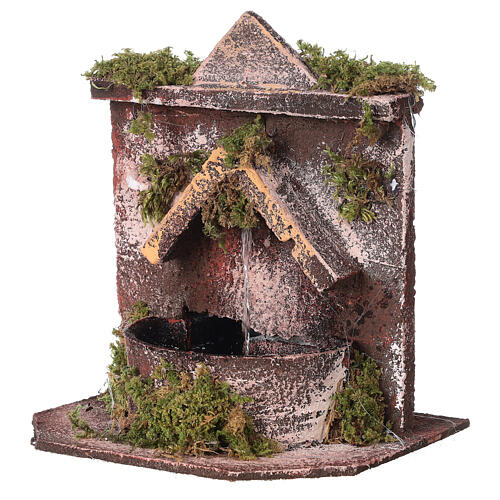 Electric fountain with real wood and cork for Neapolitan Nativity 16x14.5x14cm 2