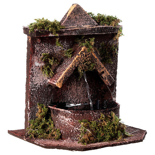 Electric fountain with real wood and cork for Neapolitan Nativity 16x14.5x14cm 3