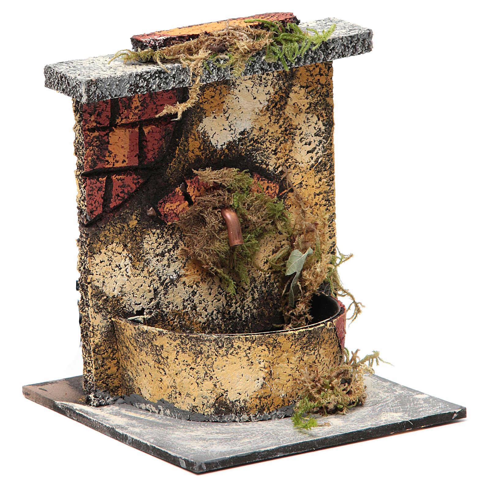 Fontana elettrica legno sughero presepe napoletano 16x14,5x14 4