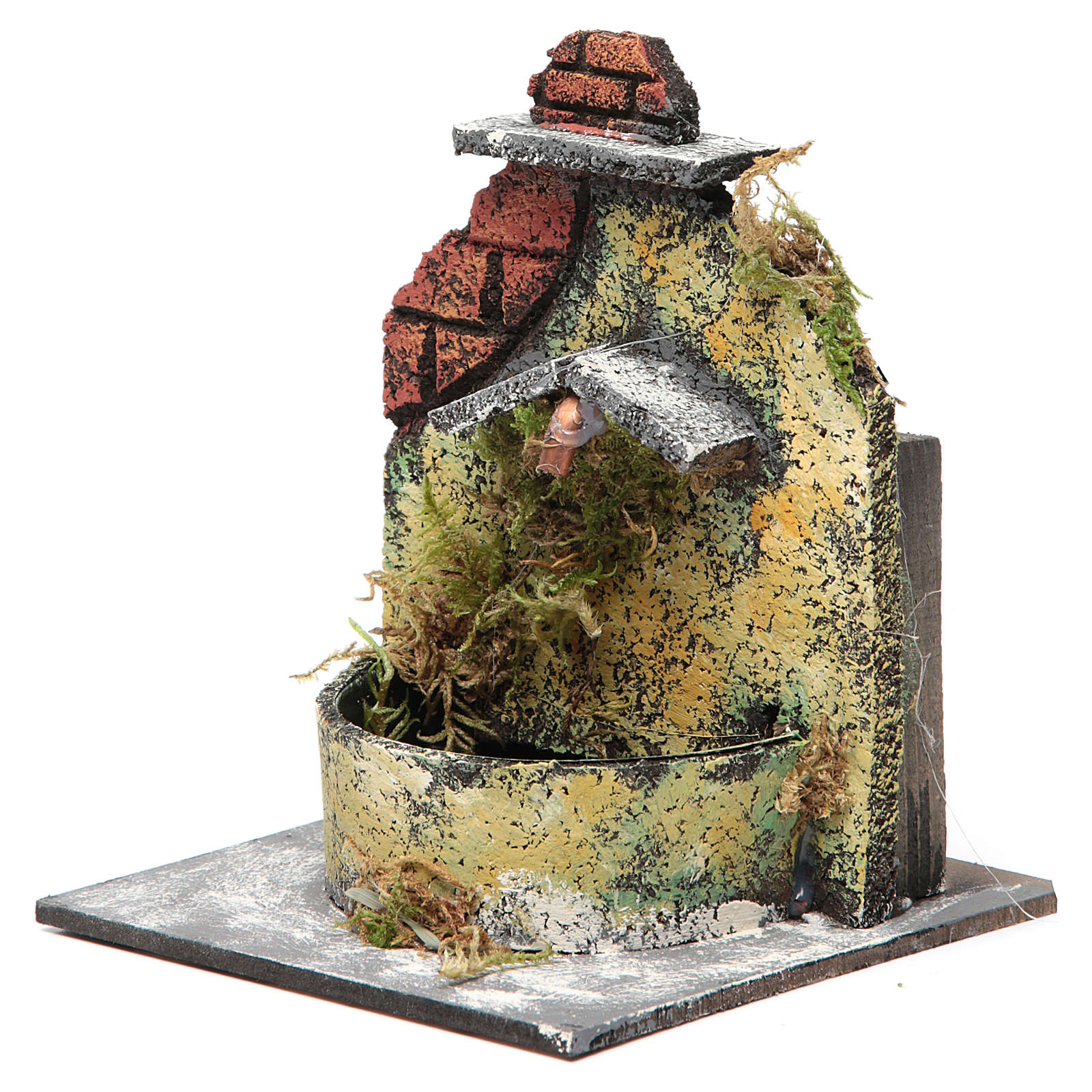 Electric fountain made with wood and cork for Neapolitan Nativity 16x14.5x14cm 4