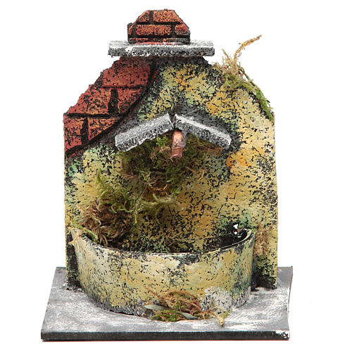 Electric fountain made with wood and cork for Neapolitan Nativity 16x14.5x14cm 1