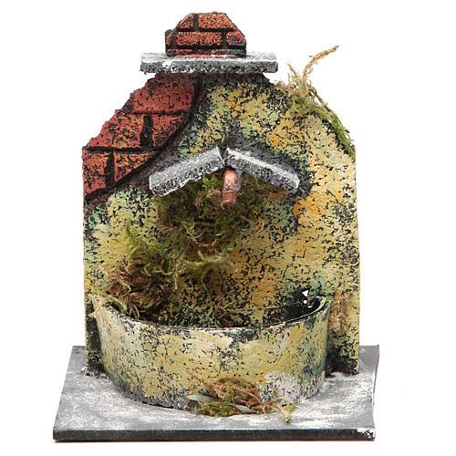 Fontaine crèche Naples en bois et liège 16x14,5x14 cm 1