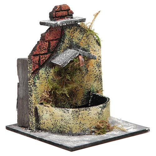 Fontaine crèche Naples en bois et liège 16x14,5x14 cm 3