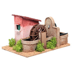 Water mill for nativities measuring 14x25x17cm s2
