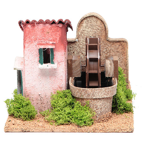 Water mill for nativities measuring 14x25x17cm 1