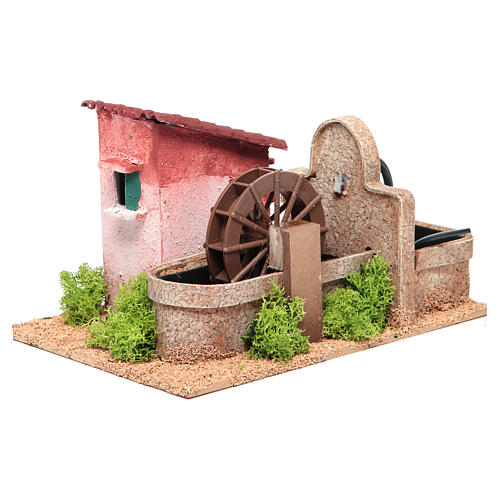 Water mill for nativities measuring 14x25x17cm 2