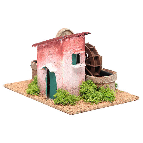 Water mill for nativities measuring 14x25x17cm 3