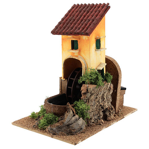 Water mill for nativities 16x25x17cm 2