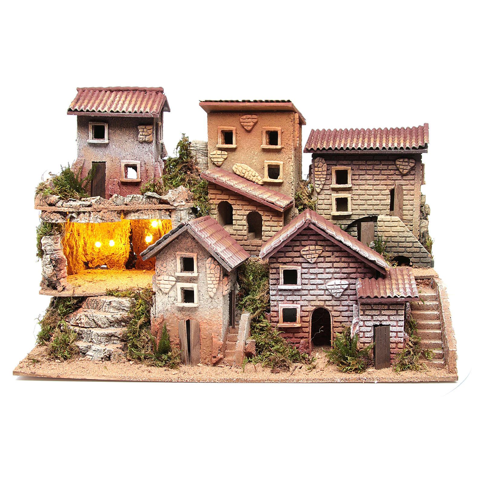Borgo presepe illuminato con grotta 33x60x25 cm 4