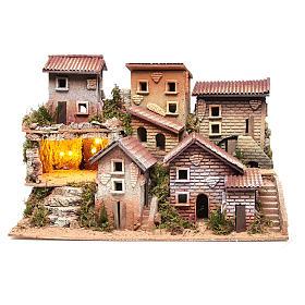 Borgo presepe illuminato con grotta 33x60x25 cm s1