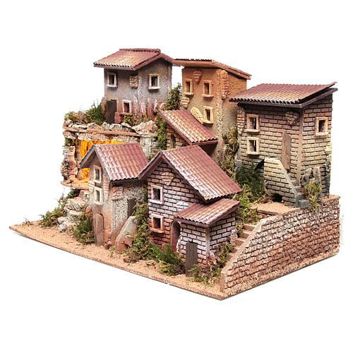 Borgo presepe illuminato con grotta 33x60x25 cm 2