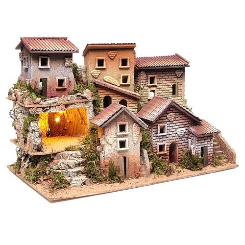 Borgo presepe illuminato con grotta 33x60x25 cm 3