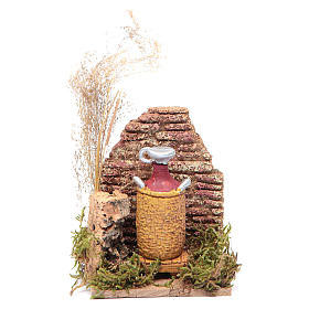 Nativity scene setting with a cork wall and a demijohn 14x9x6 cm s1