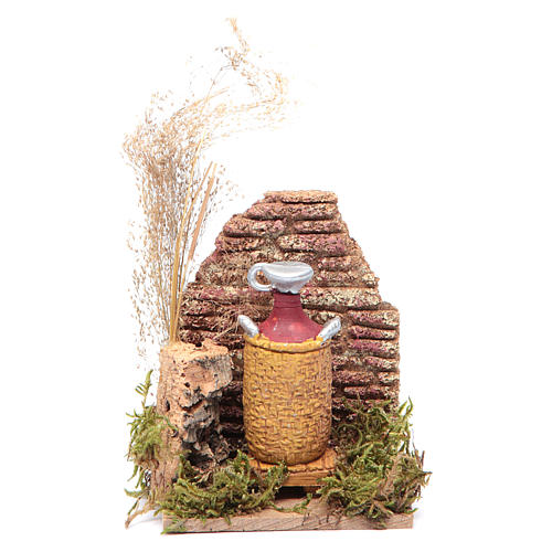 Nativity scene setting with a cork wall and a demijohn 14x9x6 cm 1