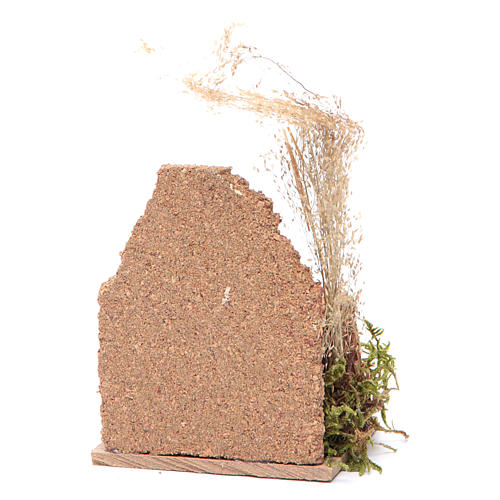 Nativity scene setting with a cork wall and a demijohn 14x9x6 cm 2