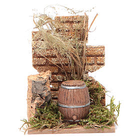 Nativity scene setting with a barrel and wall 14x9x6 cm s1