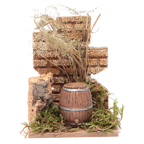 Nativity scene setting with a barrel and wall 14x9x6 cm 1