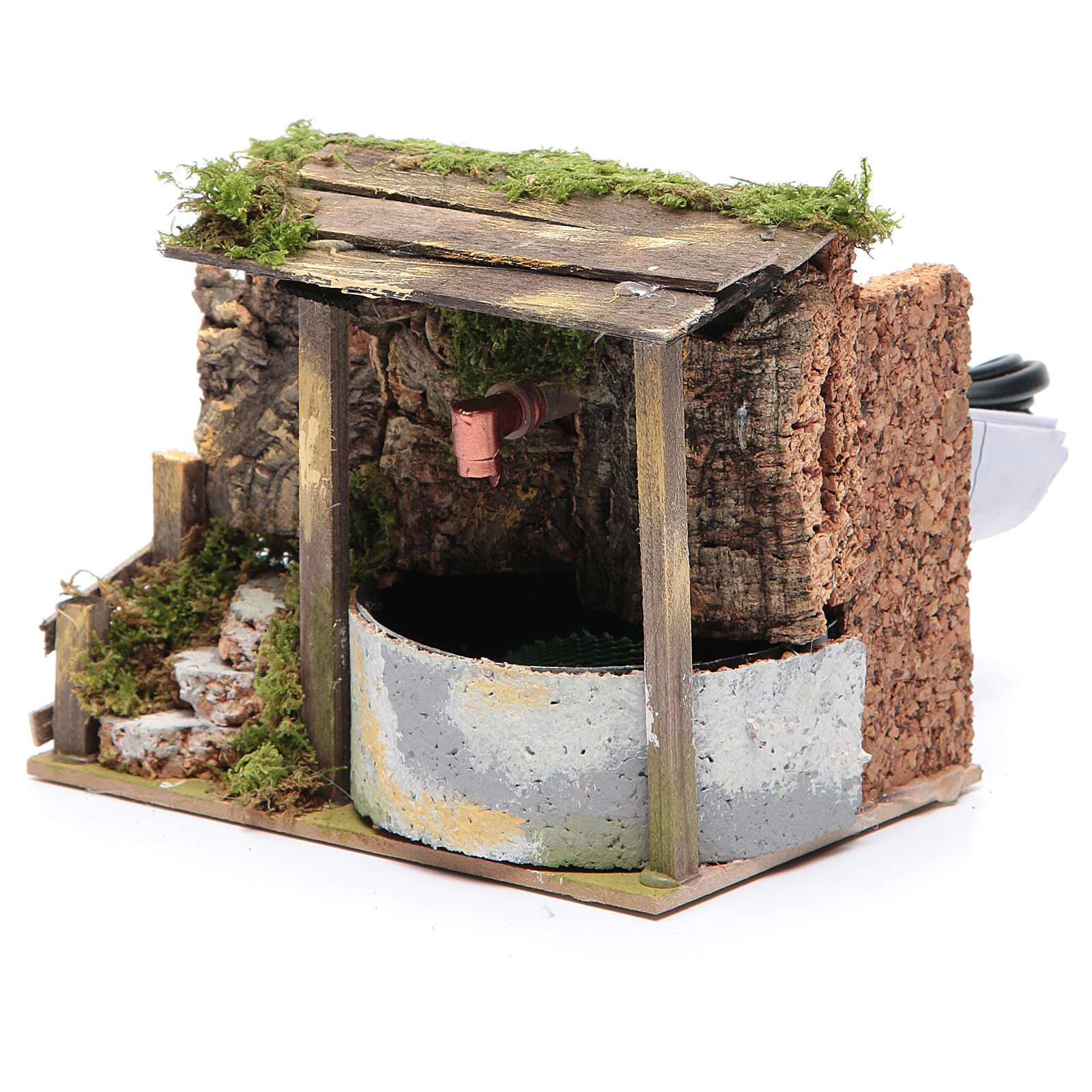 Electric fountain in rocky environment for nativity scene sized 10x15x10 cm 4