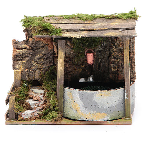 Electric fountain in rocky environment for nativity scene sized 10x15x10 cm 1