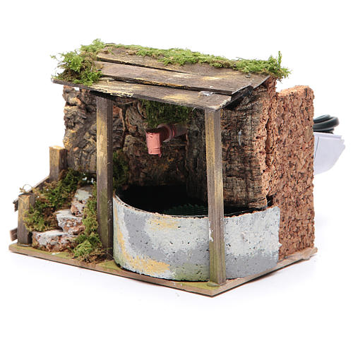 Electric fountain in rocky environment for nativity scene sized 10x15x10 cm 2
