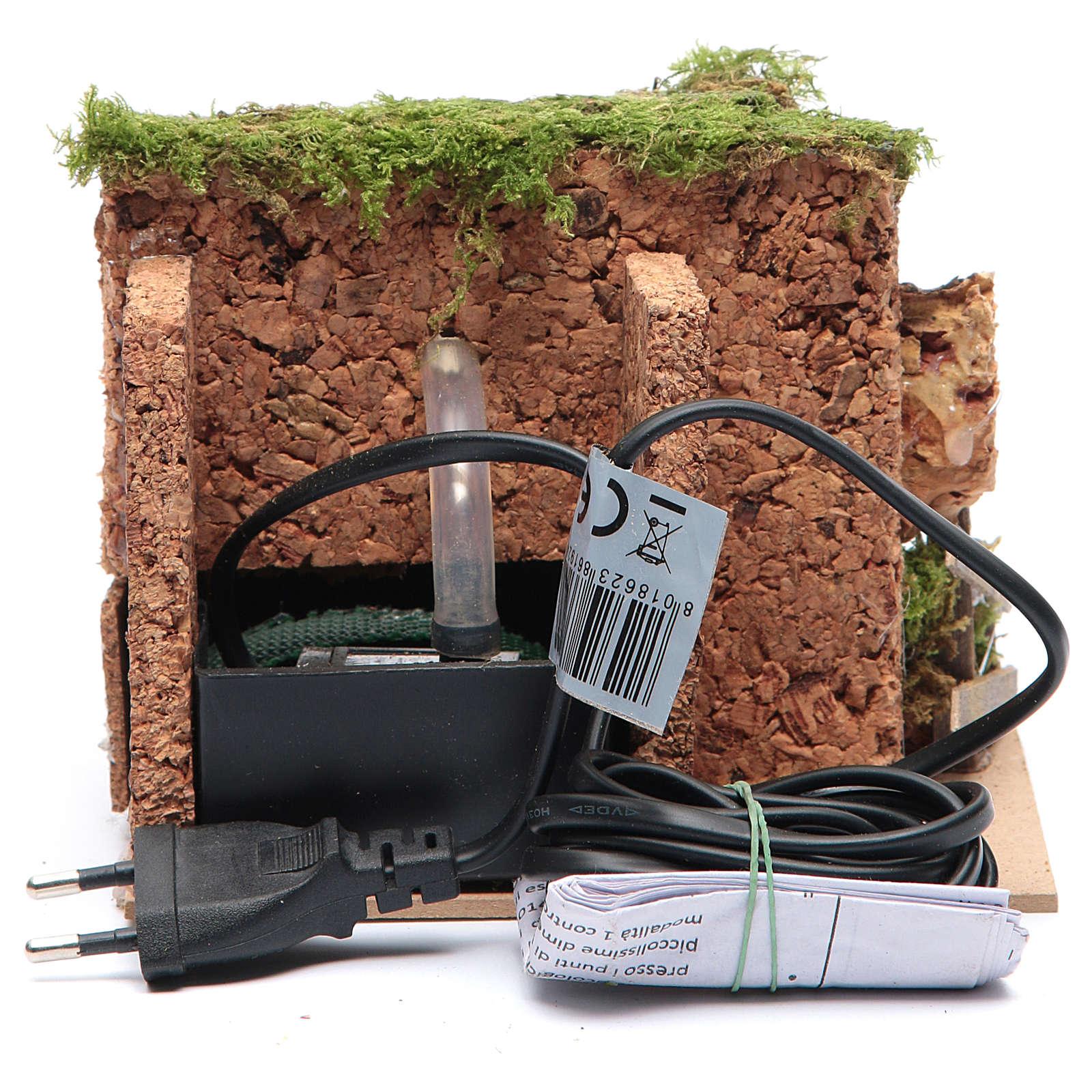 Fontana elettrica in ambiente roccioso per presepe di dimensioni 10x15x10 cm 4