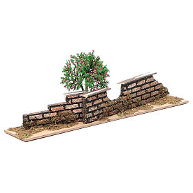 Wood fence with trees 10x30x5 cm s2