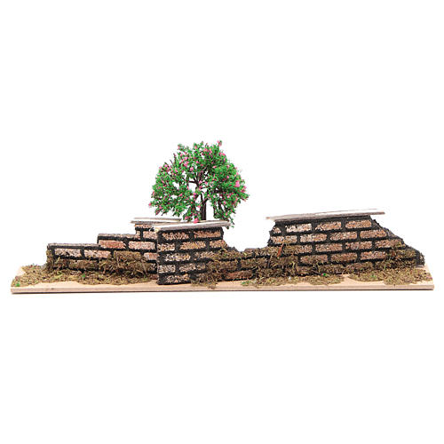 Wood fence with trees 10x30x5 cm 1