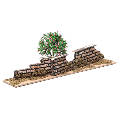 Wood fence with trees 10x30x5 cm 2