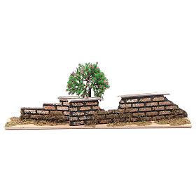 Ponts, ruisseaux, palissades pour crèche: Palissade en bois avec arbre de 10x30x5 cm