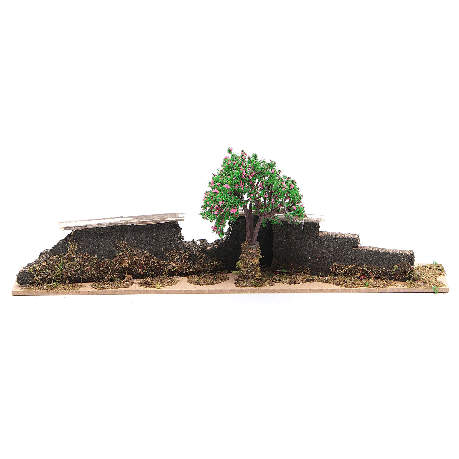 Wood fence with trees 10x30x5 cm 4