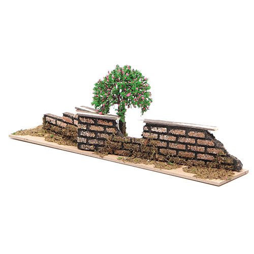 Wood fence with trees 10x30x5 cm 3