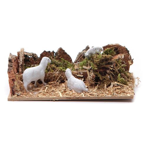 Ambientazione con pecore per presepe di dimensioni 5x15x10 cm 1
