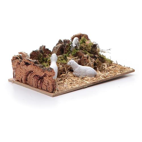 Ambientazione con pecore per presepe di dimensioni 5x15x10 cm 2