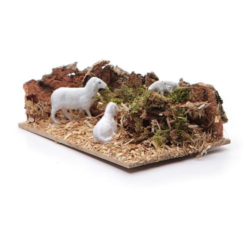 Ambientazione con pecore per presepe di dimensioni 5x15x10 cm 3