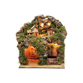 Nativity scene with lights and electric fountain 30x25x20 s5