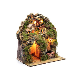 Nativity scene with lights and electric fountain 30x25x20 s6