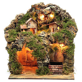 Nativity scene with lights and electric fountain 30x25x20 s1