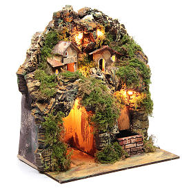 Nativity scene with lights and electric fountain 30x25x20 s2