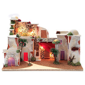 Arabian landscape for nativity scene with lights 30x50x25 cm s1