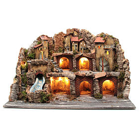 Nativity scene setting with rocky landscape and waterfall s1