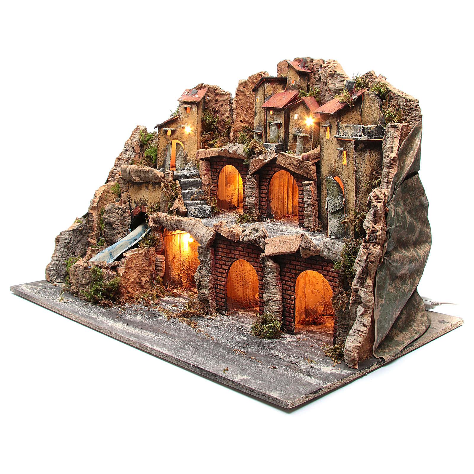 Crèche avec paysage type rocheux éclairé avec chute d'eau 4